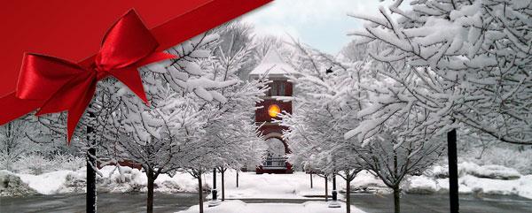 Edinboro University clocktower in winter